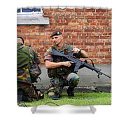 Soldiers Of The Belgian Army Helping Shower Curtain