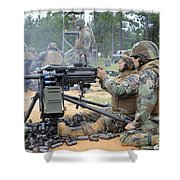 Soldiers Operate A Mk-19 Grenade Shower Curtain by Stocktrek Images