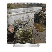 Soldiers Participate In A River Shower Curtain