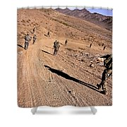 Soldiers Patrol To A Village Shower Curtain