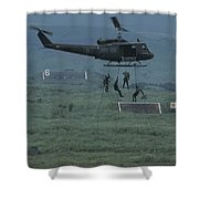 Soldiers Rappel From A Helicopter Shower Curtain