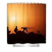 Soldiers Set Up A Security Outpost Shower Curtain