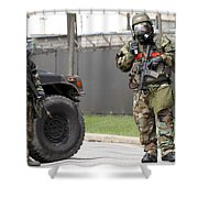 Soldiers Stand Guard At An Intersection Shower Curtain