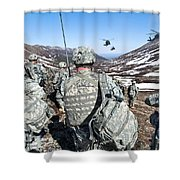 Soldiers Wait For Uh-60 Black Hawk Shower Curtain