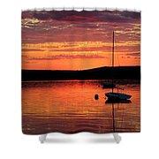 Solitary Sailboat At Sundown Shower Curtain