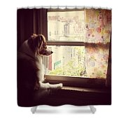 Somewhere In The Distance...a Puppy Shower Curtain by Katie Cupcakes