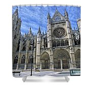 South Facade Of Leon White Gothic Shower Curtain