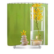 Spa Concepts With Green Background Shower Curtain