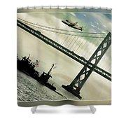 Space Shuttle And San Francisco Bay Bridge  Shower Curtain