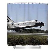 Space Shuttle Atlantis Touches Shower Curtain