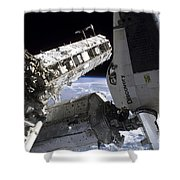 Space Shuttle Discovery Docked Shower Curtain