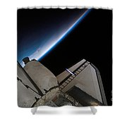 Space Shuttle Endeavour Backdropped Shower Curtain