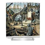 Spanish Armada Shower Curtain by Granger