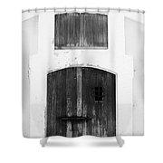 Spanish Fort Door Castillo San Felipe Del Morro San Juan Puerto Rico Prints Black And White Shower Curtain by Shawn O'Brien