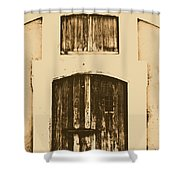 Spanish Fort Door Castillo San Felipe Del Morro San Juan Puerto Rico Prints Rustic Shower Curtain by Shawn O'Brien