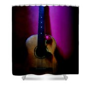 Spanish Guitar And Red Rose Shower Curtain