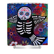 Sparrow Day Of The Dead Shower Curtain