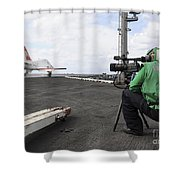 Specialist Records Video Of Flight Deck Shower Curtain