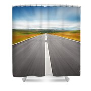 Speedyway Shower Curtain by Carlos Caetano