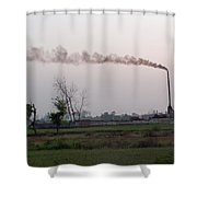 Spewing Smoke And Pollution Into A Green Rural Environment Shower Curtain