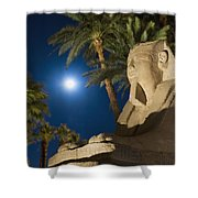 Sphinx And Date Palms With Full Moon Shower Curtain