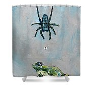 Spider Fly And Toad Shower Curtain by Fabrizio Cassetta