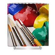 Spilt Paint And Brushes  Shower Curtain by Garry Gay