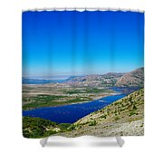 Spirit Lake From Windy Point  Shower Curtain