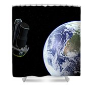 Spitzer Departing The Earth Shower Curtain