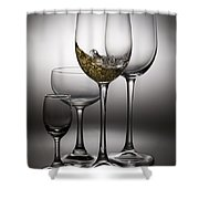 Splashing Wine In Wine Glasses Shower Curtain