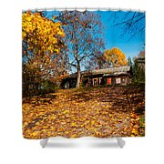 Splendor Of Autumn. Wooden House Shower Curtain