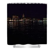Split Old Town By Night Shower Curtain