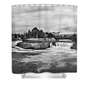 Spokane Falls From Lincoln Street Bridge In B And W Shower Curtain