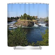 Spokane Falls Hdr Shower Curtain by Carol Groenen