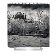Spooky Castle Rock Shower Curtain by Darcy Michaelchuk