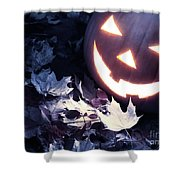 Spooky Jack-o-lantern On Fallen Leaves Shower Curtain