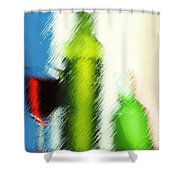 Wine Glasses And Bottle With Colorful Drinks  Shower Curtain