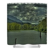 Spring Clouds At The Nicomen Slough Shower Curtain