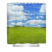 Spring Farm Landscape With Blue Sky In Maine Shower Curtain