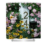 Spring Flowers And Fencepost Shower Curtain