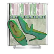 Spring Green Stripes And Rivets Shower Curtain