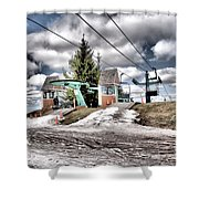 Spring Mud Skiing Shower Curtain