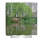 Spring Reflections Of Manhattan In Central Park Shower Curtain