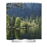 Spring View Of The Merced River Shower Curtain