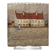 Square - Fort-philippe Shower Curtain by Henri Eugene Augustin Le Sidaner