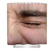 Squinting Eyes Shower Curtain