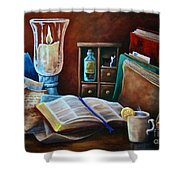 Srb Candlelit Library Shower Curtain