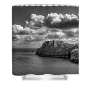St Catherines Rock Tenby Shower Curtain by Steve Purnell