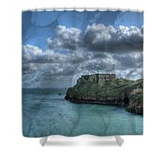 St Catherines Rock Tenby With A Shell Texture Shower Curtain