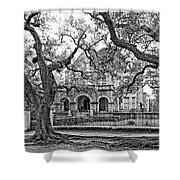 St. Charles Ave. Mansion Monochrome Shower Curtain